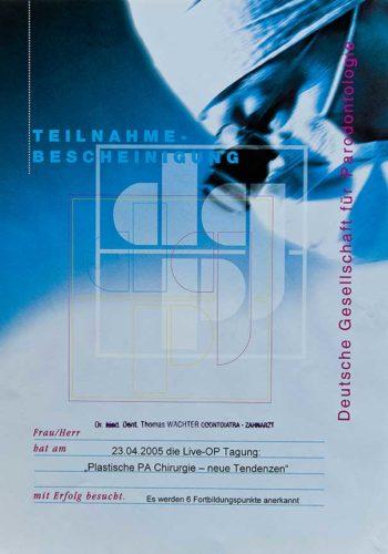 Zertifikat-Chirurgie-Certificato-Chirurgia-Muenchen-2005-04-Dr-Thomas-Waechter-Zahnarzt-Odontoiatra-Bozen-Bolzano-