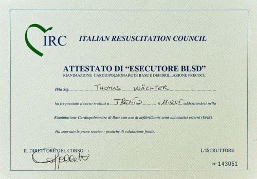 2005-Zertifikat-Allgemeine-Zahnheilkunde-Basic-Life-Support-Certificato-Odontoiatria-Generale-Trento-Dr-Thomas-Waechter-Zahnarzt-Odontoiatra-Bozen-Bolzano