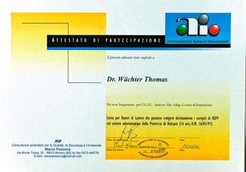 2005-Zertifikat-Arbeitssicherheit-In-Der-Zahnheilkunde-Certificato-Sicurezza-Posto-Di-Lavoro-Odontoiatria-Dr-Thomas-Waechter-Zahnarzt-Odontoiatra-Bozen-Bolzano