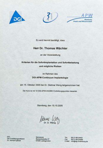 2005-Zertifikat-Curriculum-Implantologie-Certificato-Formazione-Impiantologia-Starnberg-Dr-Thomas-Wachter-Zahnarzt-Odontoiatra-Bozen-Bolzano