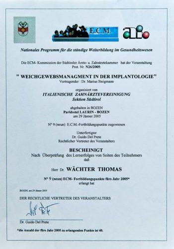 2005-Zertifikat-Implantologie-Certificato-Impiantologia-Bozen-Bolzano-Dr-Thomas-Waechter-Zahnarzt-Odontoiatra-Bozen-Bolzano