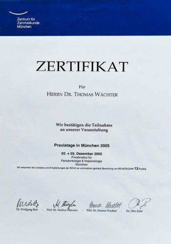 2005 Zertifikat Implantologie Certificato Impiantologia Muenchen Dr Thomas Waechter Zahnarzt Odontoiatra Bozen Bolzano