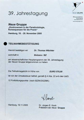 2005-Zertifikat-Parodontologie-Certificato-Parodontologia-Hamburg-Dr-Thomas-Waechter-Zahnarzt-Odontoiatra-Bozen-Bolzano