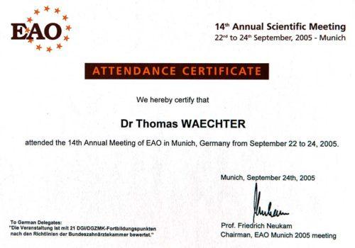 2005 Zertifikat Regenerative Zahnheilkunde Certificato Odontoiatria Rigenerativa Muenchen Dr Thomas Waechter Zahnarzt Odontoiatra Bozen Bolzano