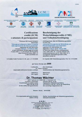 2006-Zertifikat-Chirurgie-Certificato-Chirurgia-Bozen-Bolzano-Dr-Thomas-Waechter-Zahnarzt-Odontoiatra-Bozen-Bolzano-2
