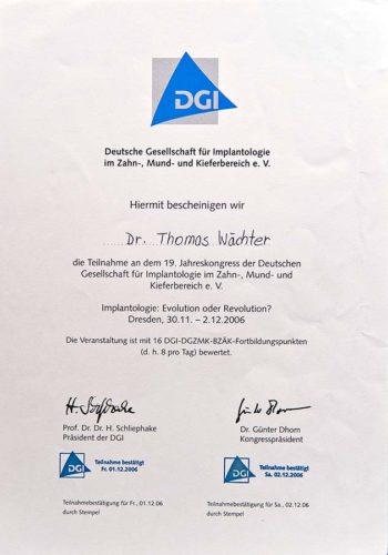 2006 Zertifikat Implantologie Certificato Impiantologia Dresden Dr Thomas Waechter Zahnarzt Odontoiatra Bozen Bolzano 1