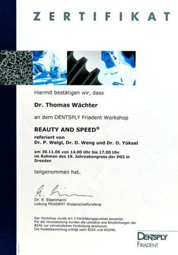 2006 Zertifikat Implantologie Certificato Impiantologia Dresden Dr Thomas Waechter Zahnarzt Odontoiatra Bozen Bolzano 2