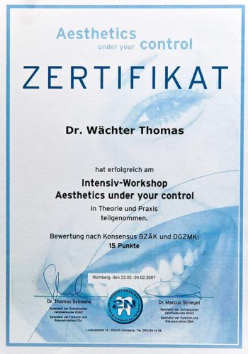 2007-Zertifikat-Aesthetische-Zahnheilkunde-Cerificato-Odontoiatria-Estetica-Nuernberg-Dr-Thomas-Waechter-Zahnarzt-Odontoiatra-Bozen-Bolzano