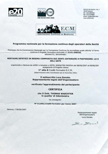 2007 Zertifikat Aesthetische Zahnheilkunde Certificato Odontoiatria Estetica Padova Dr Thomas Waechter Zahnarzt Odontoiata Bozen Bolzano