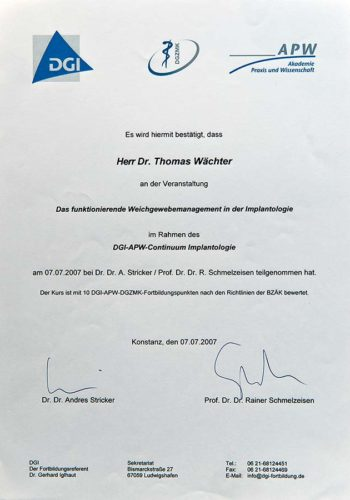 2007 Zertifikat Curriculum Implantologie Certificato Formazione Impiantologia Konstanz Dr Thomas Waechter Zahnarzt Odontoiatra Bozen Bolzano