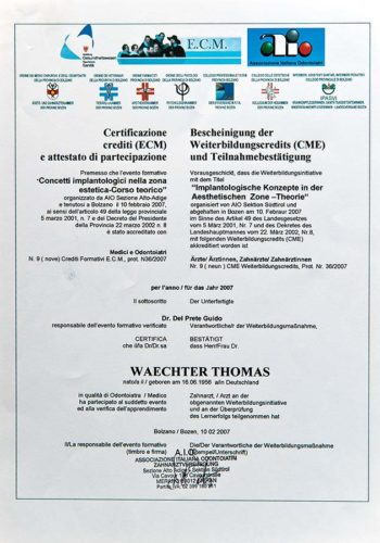2007 Zertifikat Implantologie Certificato Impiantologia Bozen Bolzano Dr Thomas Waechter Zahnarzt Odontoiatra Bozen Bolzano 1