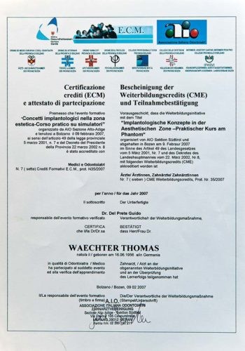 2007-Zertifikat-Implantologie-Certificato-Impiantologia-Bozen-Bolzano-Dr-Thomas-Waechter-Zahnarzt-Odontoiatra-Bozen-Bolzano-2