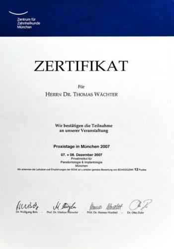 2007 Zertifikat Implantologie Certificato Impiantologia Muenchen Dr Thomas Waechter Zahnarzt Odontoiatra Bozen Bolzano