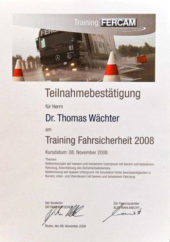 2008 Zertifikat Certificato Bozen Bolzano Dr Thomas Waechter Zahnarzt Odontoiatra Bozen Bolzano
