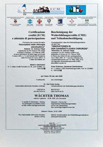 2008-Zertifikat-Chirurgie-Certificato-Chirurgia-Bozen-Bolzano-Dr-Thomas-Waechter-Zahnarzt-Odontoiatra-Bozen-Bolzano