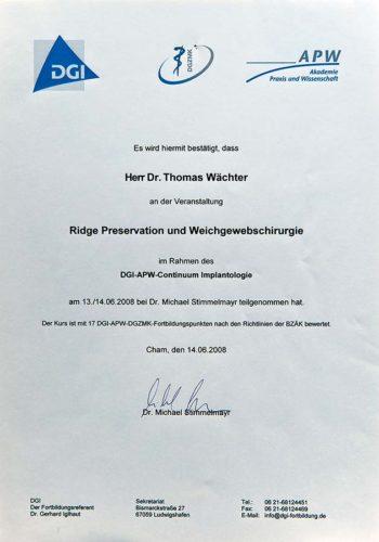 2008 Zertifikat Curriculum Implantologie Certificato Formazione Impiantologia Cham Dr Thomas Waechter Zahnarzt Odontoiatra Bozen Bolzano