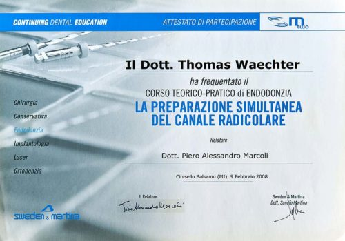 2008 Zertifikat Endodontie Certificato Endodonzia Milano Dr Thomas Waechter Zahnarzt Odontoiatra Bozen Bolzano