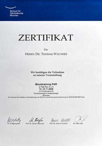 2008 Zertifikat Parodontologie Certificato Parodontologia Muenchen Dr Thomas Waechter Zahnarzt Odontoiatra Bozen Bolzano 1