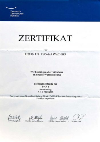 2008-Zertifikat-Parodontologie-Certificato-Parodontologia-Muenchen-Dr-Thomas-Waechter-Zahnarzt-Odontoiatra-Bozen-Bolzano-2