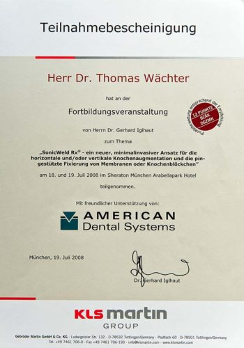 2008 Zertifikat Regenerative Zahnheilkunde Certificato Odontoiatria Rigenerativa Muenchen Dr Thomas Waechter Zahnarzt Odontoiatra Bozen Bolzano