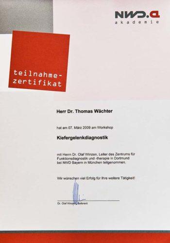 2009 Zertifikat Funktionelle Zahnheilkunde Certificato Odontoiatria Funzionale Muenchen Dr Thomas Waechter Zahnarzt Odontoiatra Bozen Bolzano