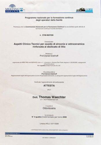 2009-Zertifikat-Prothetische-Zahnheilkunde-Certificato-Odontoiatria-Protesica-St-Pauls-Bozen-San-Paolo-Bolzano-Dr-Thomas-Waechter-Zahnarzt-Odontoiatra-Bozen-Bolzano