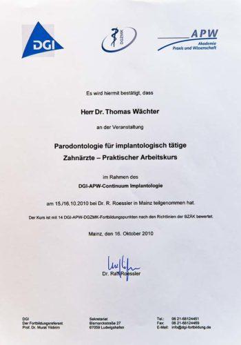2010 Zertifikat Curriculum Implantologie Certificato Formazione Impiantologia Mainz Dr Thomas Waechter Zahnarzt Odontoiatra Bozen Bolzano