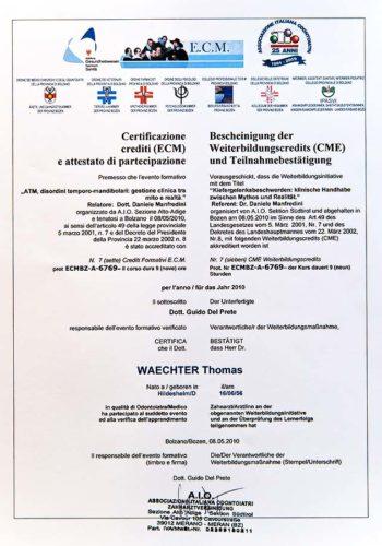 2010-Zertifikat-Funktionelle-Zahnheilkunde-Certificato-Odontoiatria-Funzionale-Bozen-Bolzano-Dr-Thomas-Waechter-Zahnarzt-Odontoiatra-Bozen-Bolzano