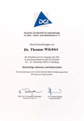 2010 Zertifikat Implantologie Certificato Impiantologia Hamburg Dr Thomas Waechter Zahnarzt Odontoiatra Bozen Bolzano