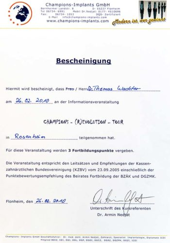 2010 Zertifikat Implantologie Certificato Impiantologia Rosenheim Dr Thomas Waechter Zahnarzt Odontoiatra Bozen Bolzano
