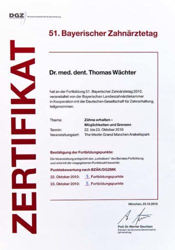 2010 Zertifikat Konservierende Zahnheilkunde Certificato Odontoiatria Conservativa Muenchen Dr Thomas Waechter Zahnarzt Odontoiatra Bozen Bolzano