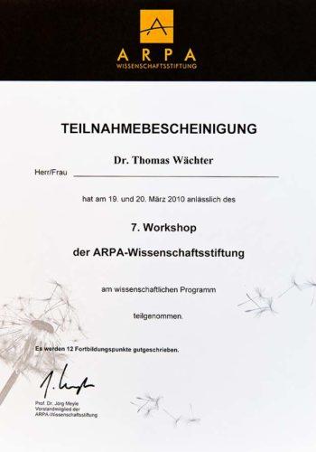 2010 Zertifikat Parodontologie Certificato Parodontologia Muenchen Dr Thomas Waechter Zahnarzt Odontoiatra Bozen Bolzano