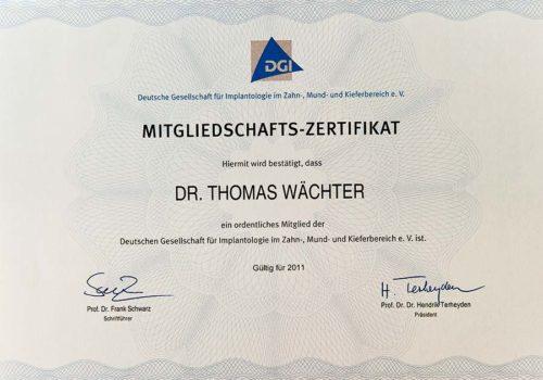 2011 Zertifikat Implantologie Certificato Impintologia Deutschland Germania Dr Thomas Waechter Zahnarzt Odontoiatra Bozen Bolzano