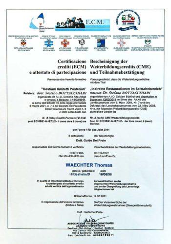 2011-Zertifikat-Konservierende-Zahnheilkunde-Cerificato-Odontoiatria-Conservativa-Bozen-Bolzano-Dr-Thomas-Waechter-Zahnarzt-Odontoiatra-Bozen-Bolzano