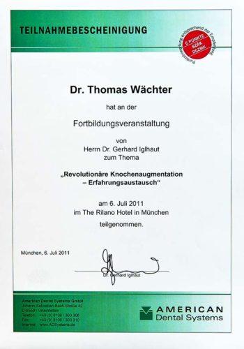 2011 Zertifikat Regenerative Zahnheilkunde Certificato Odontoiatria Rigenerativa Muenchen Dr Thomas Waechter Zahnarzt Odontoiatra Bozen Bolzano 1