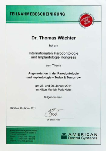 2011 Zertifikat Regenerative Zahnheilkunde Certificato Odontoiatria Rigenerativa Muenchen Dr Thomas Waechter Zahnarzt Odontoiatra Bozen Bolzano 2