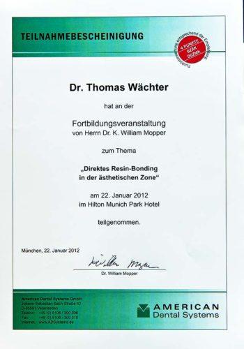 2012 Zertifikat Aesthetische Zahnheilkunde Certificato Odontoiatria Estetica Muenchen Dr Thomas Waechter Zahnarzt Odontoiatra Bozen Bolzano 1