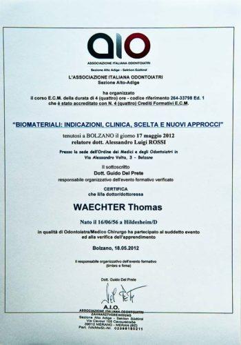 2012-Zertifikat-Allgemeine-Zahnheilkunde-Certificato-Odontoiatria-Generale-Bozen-Bolzano-Dr-Thomas-Waechter-Zahnarzt-Odontoiatra-Bozen-Bolzano