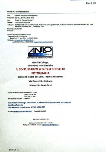 2012 Zertifikat Allgemeine Zahnheilkunde Dentale Photografie Certificato Odontoiatria Generale Fotografia Dentale Dr Thomas Waechter Bozen Bolzano