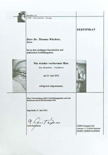 2012-Zertifikat-Funktionelle-Zahnheilkunde-Odontoiatria-Funzionale-Ingolstadt-Dr-Thomas-Waechter-Zahnarzt-Odontoiatra-Bozen-Bolzano
