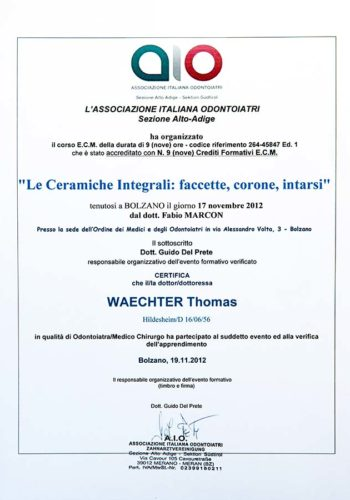 2012-Zertifikat-Konservierende-Zahnheilkunde-Certificato-Odontoiatria-Conservativa-Bozen-Bolzano-Dr-Thomas-Waechter-Zahnarzt-Odontoiatra-Bozen-Bolzano