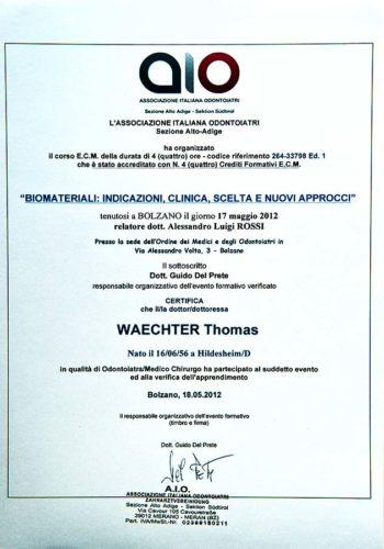 2012-Zertifikat-Regenerative-Zahnheilkunde-Certificato-Odontoiatria-Rigenerativa-Bozen-Bolzano-Dr-Thomas-Waechter-Zahnarzt-Odontoiatra-Bozen-Bolzano-1