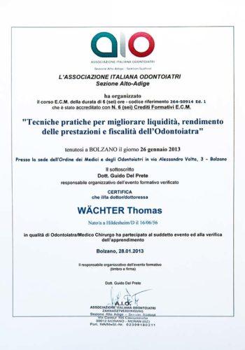 2013-Zertifikat-Allgemeine-Zahnheilkunde-Certificato-Odontoiatria-Generale-Bozen-Bolzano-Dr-Thomas-Waechter-Zahnarzt-Odontoiatra-Bozen-Bolzano