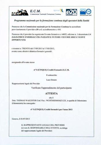 2013-Zertifikat-Allgemeine-Zahnheilkunde-Certificato-Odontoiatria-Generale-Trento-Dr-Thomas-Waechter-Zahnarzt-Odontoiatra-Bozen-Bolzano