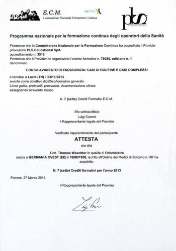 2013-Zertifikat-Endodontie-Certificato-Endodonzia-Lavis-Trento-Dr-Thomas-Waechter-Zahnarzt-Odontoiatra-Bozen-Bolzano-1