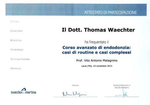 2013 Zertifikat Endodontie Certificato Endodonzia Lavis Trento Dr Thomas Waechter Zahnarzt Odontoiatra Bozen Bolzano 2