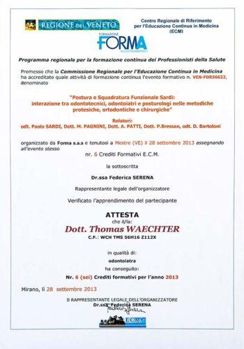 2013-Zertifikat-Funktionelle-Zahnheilkunde-Certificato-Odontoiatria-Funzionale-Mestre-Venezia-Dr-Thomas-Waechter-Zahnarzt-Odontoiatra-Bozen-Bolzano