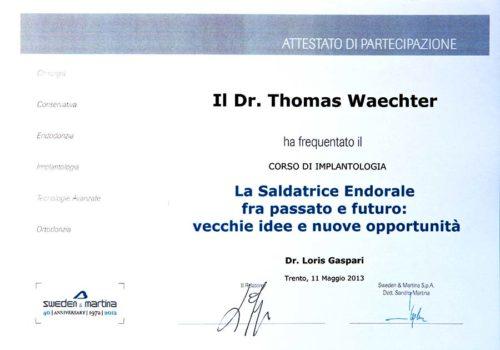 2013-Zertifikat-Implantologie-Certificato-Impiantologia-Trento-Dr-Thomas-Waechter-Zahnarzt-Odontoiatra-Bozen-Bolzano