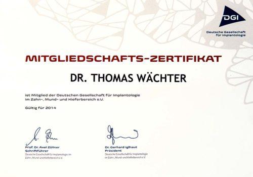 2014 Zertifikat Implantologie Certificato Impiantologia Deutschland Germania Dr Thomas Waechter Zahnarzt Odontoiatra Bozen Bolzano