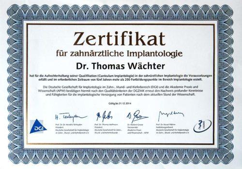 2014 Zertifikat Implantologie Certificato Impiantologia Deutschland Germania Thomas Waechter Zahnarzt Odontoiatra Bozen Bolzano